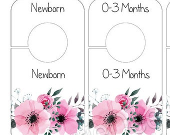 Nursery Closet Dividers, PRINTABLE Rustic Pink Floral Baby Decor, DIY Instant Download, Baby Girl Closet Organizers, ID001-WN
