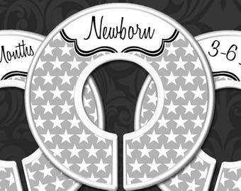 Nursery Closet Dividers, Baby Clothes Organizers, Gender Neutral Baby Gift, Grey Stars Decor