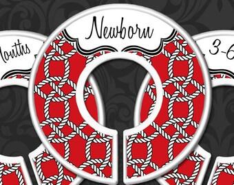 Red Nautical Rope Baby Closet Dividers, Red Nautical Nursery Decor, Baby Boy Gift, Sailor Nursery Theme