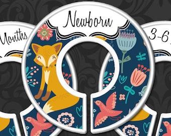 Nursery Closet Dividers, Woodland Fox Baby Girl Clothes Dividers, Foxes Baby Decor, Baby Closet Organizers, Woodland Creatures - Navy Fox