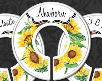 Sunflower Baby Clothes Dividers, Nursery Closet Dividers, Sunflowers Baby Decor, Baby Shower Gift, Floral Nursery Decor