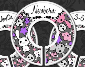 Bunny & Skull Nursery Closet Dividers, Skulls Baby Closet Divider, Baby Clothes Organizers, Emo Rocker Baby Girl, Rock Star Nursery, Kawaii