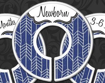 Navy Blue Herringbone Nursery Closet Dividers, Baby Clothes Dividers, Clothes Organizers, Baby Shower, Baby Boy Gift, Navy Arrow