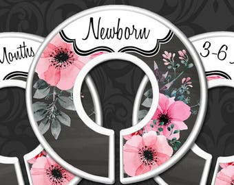 Rustic Flowers Nursery Closet Dividers, Baby Closet Dividers, Baby Girl Shower Gift, Painted Floral Chalkboard Decor, Floral Baby Decor