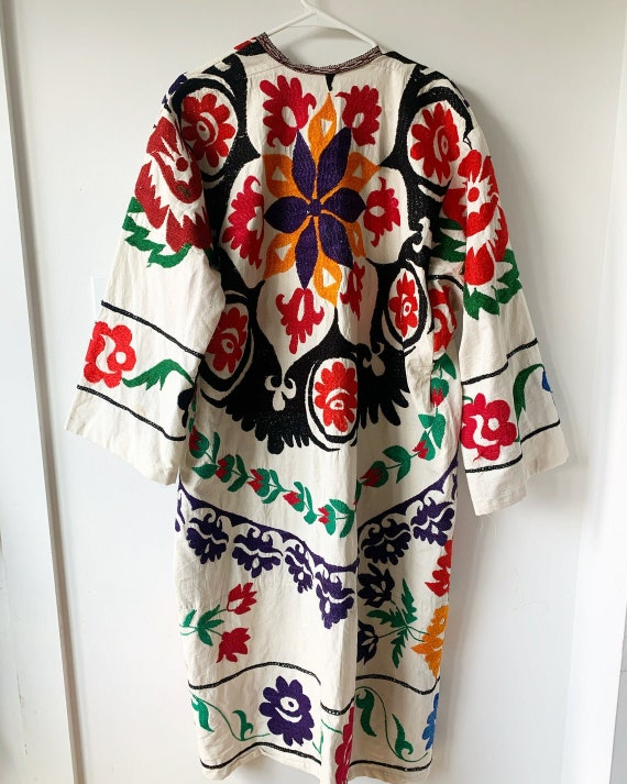 Vintage Embroidered Coat, Uzbek Tribal Coat , Embr