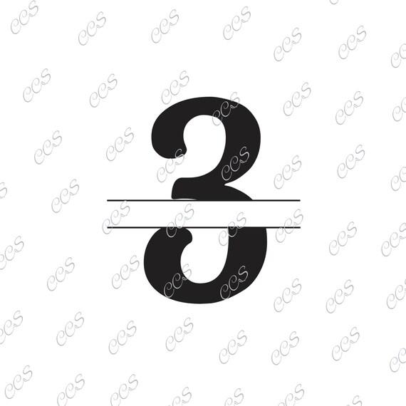 Digital Cut File Split Numbers Number 3 3 Split 3 Vinyl Etsy