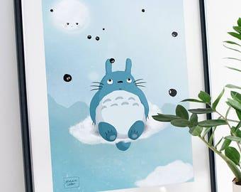 Totoro fanart - illustration print