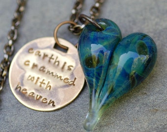 Graduation Gift Glass Heart Pendant Necklace Boro Lampwork Jewelry Handstamped Brass Tag, Blue Green - Earth is Crammed With Heaven