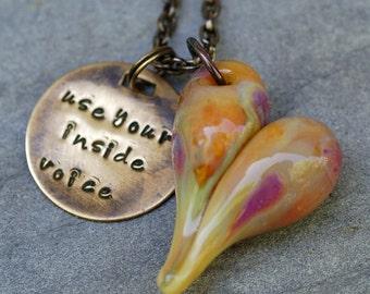Teacher Gift Glass Heart Pendant Boro Borosilicate Lampwork Necklace - Use Your Inside Voice