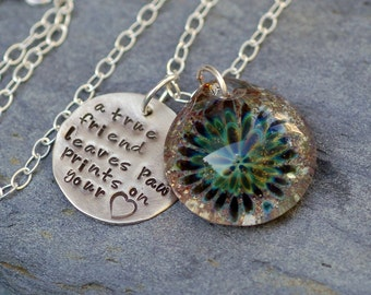 Pet Memorial Glass Flower Cremation Pendant Custom Personalized Charm Necklace Borosilicate Boro Lampwork, Hand Blown Glass Jewelry