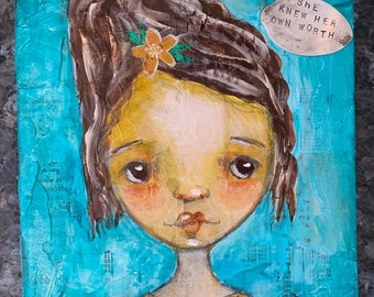 Covid Girls Mixed Media Painting Original Feminist Black Lives Matter Art- She Knew Her Own Worth
