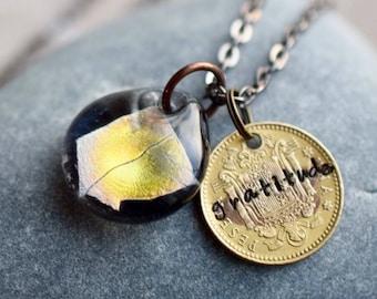Dichroic Glass Pendant Boro Lampwork Stamped Coin Necklace - Gratitude