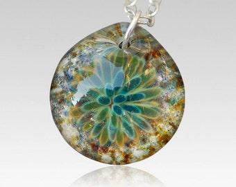 Memorial Ash Pendant Pet Cremation Glass Flower Necklace Borosilicate Boro Lampwork, Hand Blown Glass Jewelry