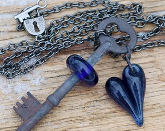 Boro Glass Beaded Skeleton Key and Glass Heart Necklace Midnight Sparkle