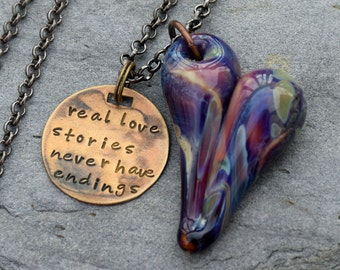Glass Heart Pendant Boro Lampwork Hand-Stamped Tag Real Love Stories