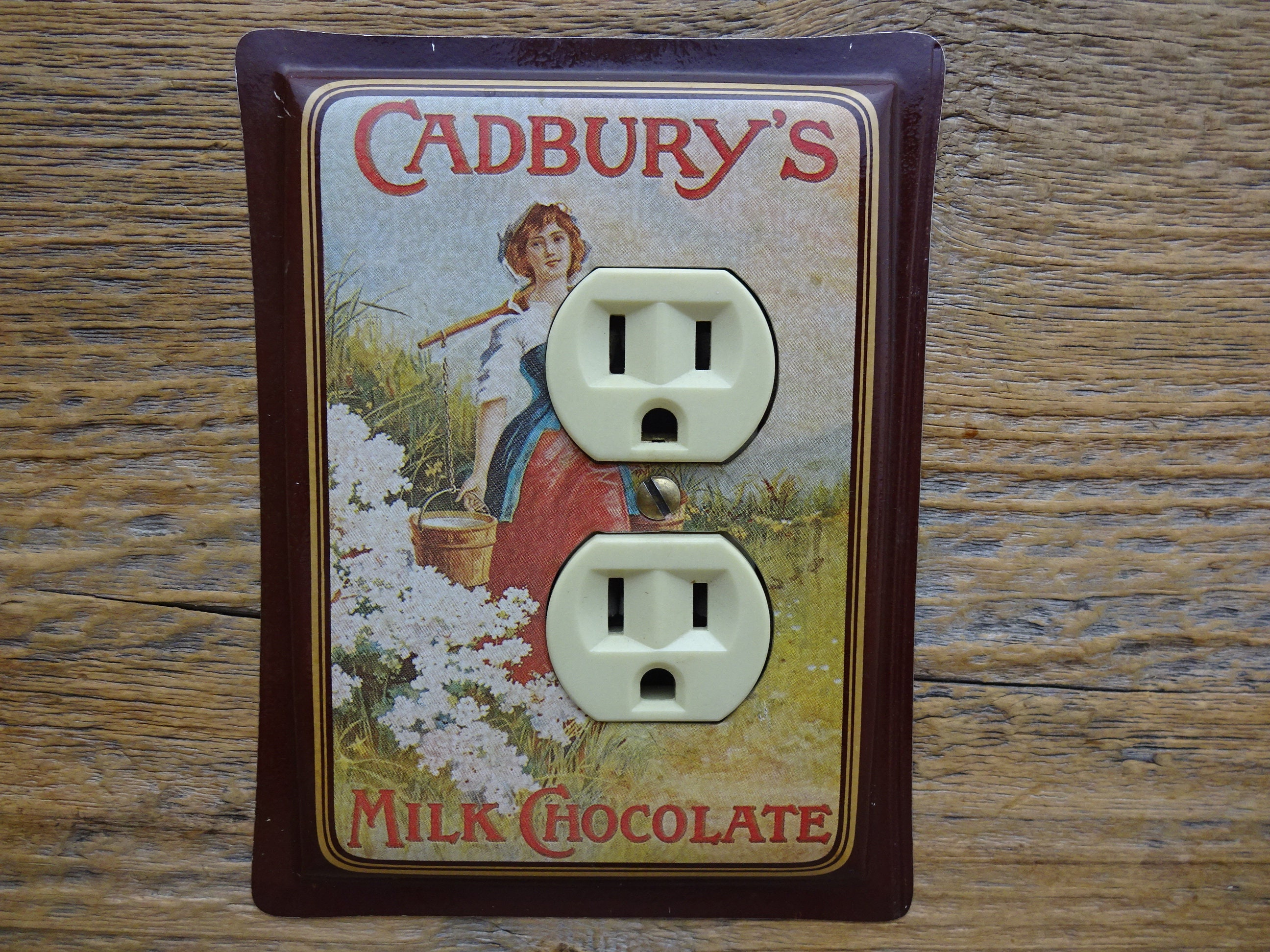 Light fixture outlet cover recycled tins cadburys chocolate tin wall art country kitchen decor olc 1006