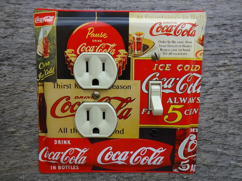 Cover SINGLE Light Switch Plate VINTAGE COCA COLA AD