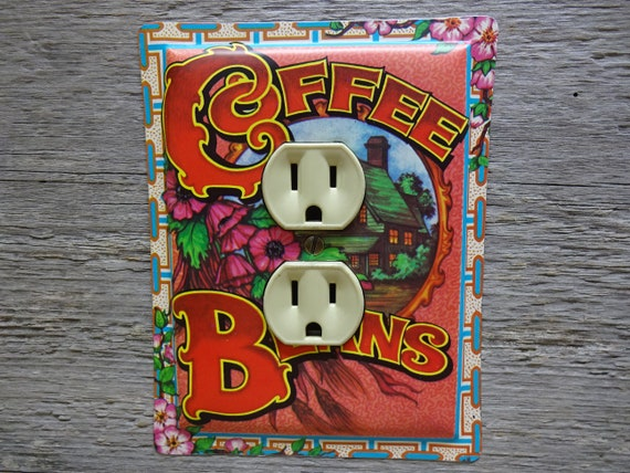 Kitchen Outlet Covers Pink Floral Duplex Cover Coffee Beans Tin Tins For  Unique Lighting Decor OLC-1174
