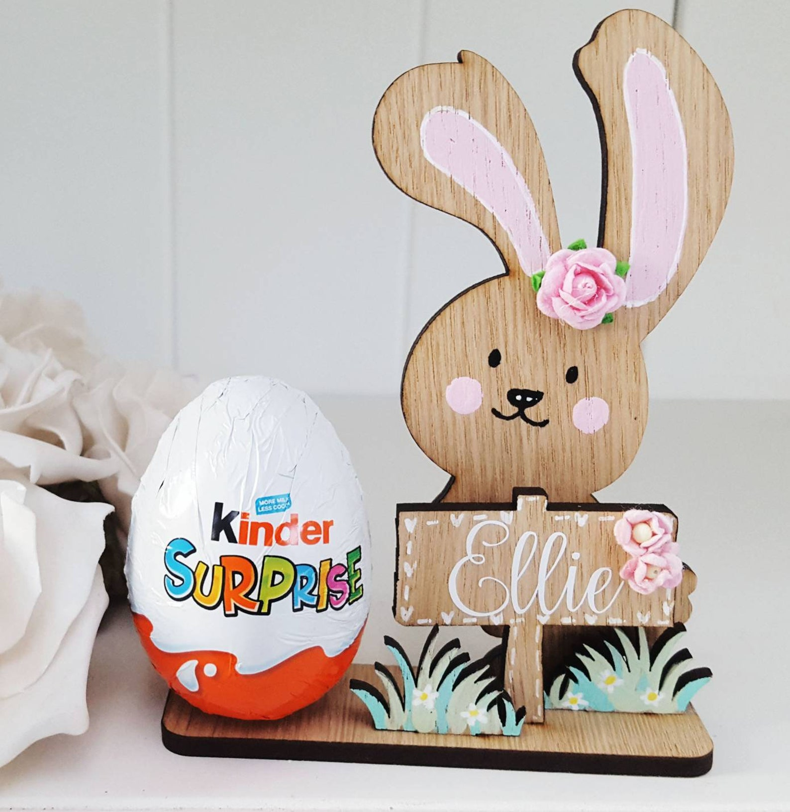 Personalised Wooden Bunny, Kinder Chocolate Egg Holder Freestanding Bunny Easter Gift