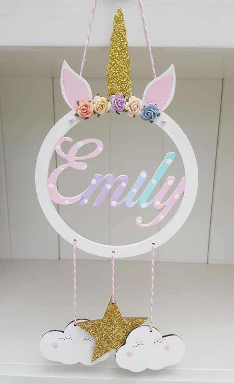 Magnifique attrape-rêve avec prénom enfant - Créatrice ETSY : twinklesdesigns