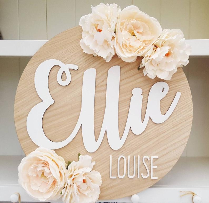Signe rond de nom grande plaque personnalisée florale - Créatrice ETSY : twinklesdesigns