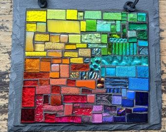 Rainbow Patchwork Mosaic on Slate Wall Art
