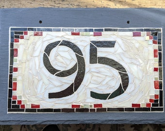 Arts and Crafts Mosaic House Number on Slate  2 digit 12x8 inches