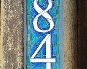 Vertical 2 Digit  Mosaic House Number on Slate 4x12 inches