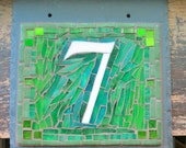 Green Mosaic House Number Plaque