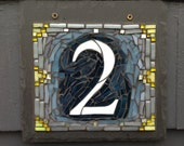 Dark Blue and Gray Mosaic House Number with Yellow Accents
