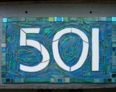 Arts and Crafts Style Mosaic House Number on Slate  3 digit