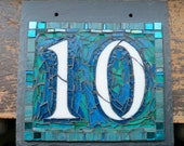 2 Digit Mosaic House Number on 8x8 inch Slate