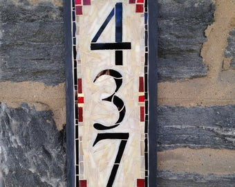 Vertical 3 Digit House Number Mosaic Slate on 6x15 inch slate