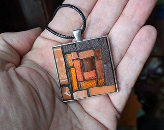 Coffee and Carrot Log Cabin Mosaic Pendant