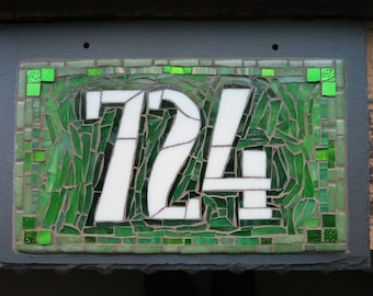 Art Deco Style Mosaic House Number on Slate  3 digit