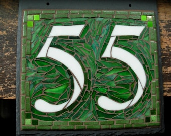 Mosaic House Number 2 Digit on Square Slate 10x10 inches