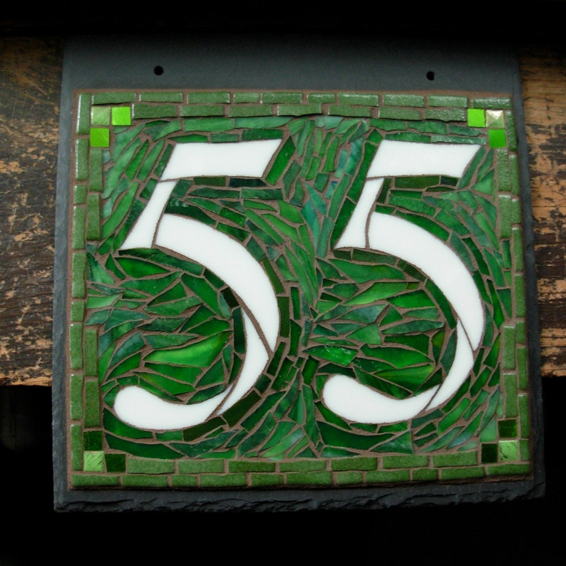 Mosaic House Number 2 Digit on Square Slate 10x10 inches image 0