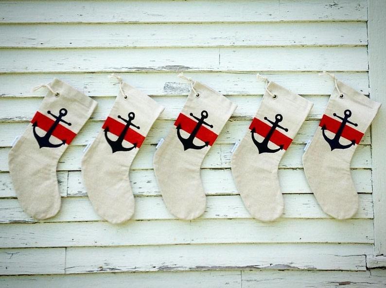 Maine Christmas Stocking..Holiday stocking.nautical stockings. image 0