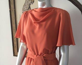 Peachy Orange Flowy Crepe Cowl Neck Dress