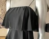I Magnin Tiered Black Chiffon Strap Cocktail Dress