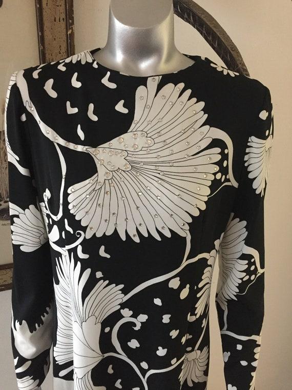 70s Bold Print Anne Fogarty Rhinestone Maxi Gown