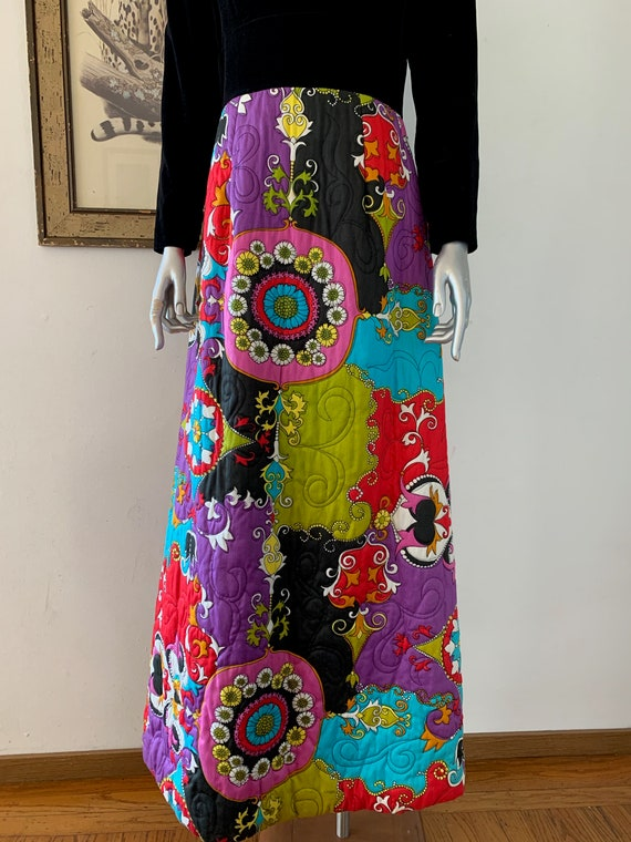 Iconic 1970s Psychedelic Quilted Maxi Dress by Dyn