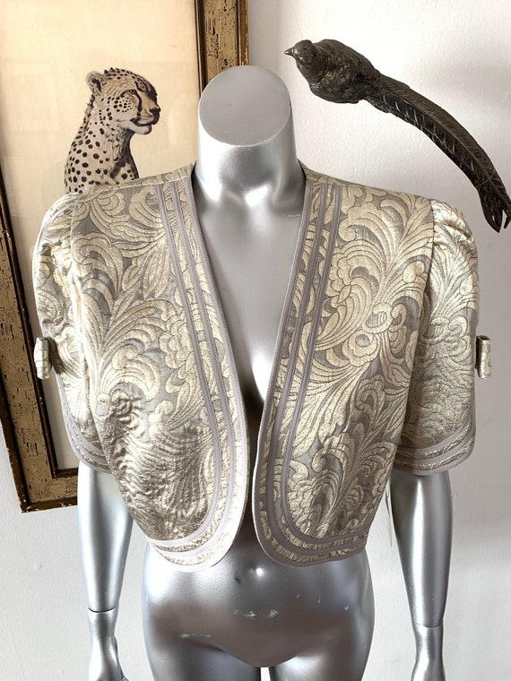 Metallic Brocade Cropped Jacket with Big Bow Sleev