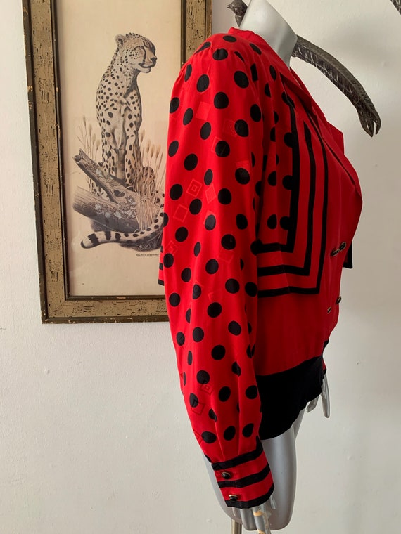 Early 90s Statement Silk Blouse Bright Red Polka … - image 7