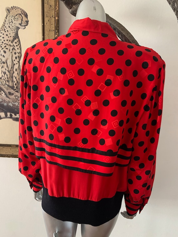 Early 90s Statement Silk Blouse Bright Red Polka … - image 6