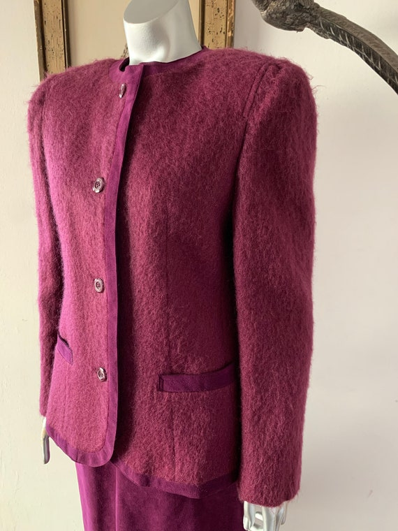 1960s Mohair and Suede Skirt Suit