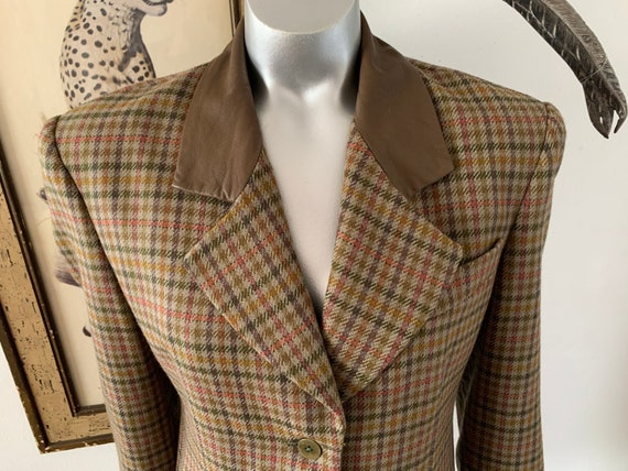 Rainbow Plaid Tweed Blazer with Faux Leather Colla