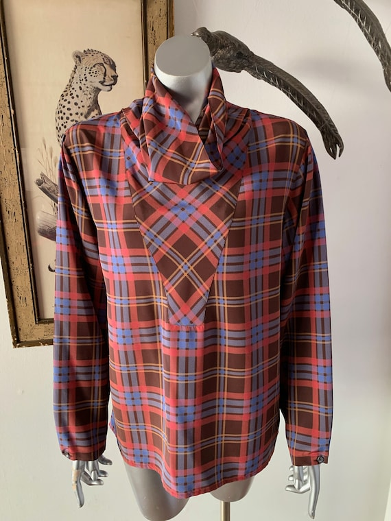 Christian Dior Separates Plaid Cowl Neck Blouse