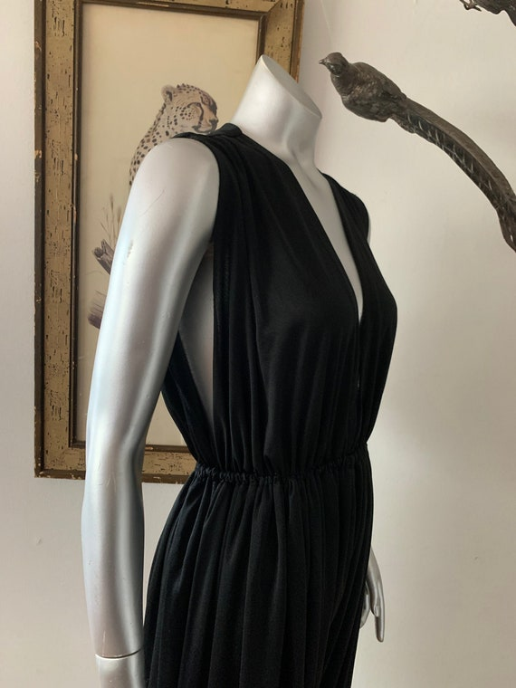Halston IV 1970s Black Knit Jumpsuit