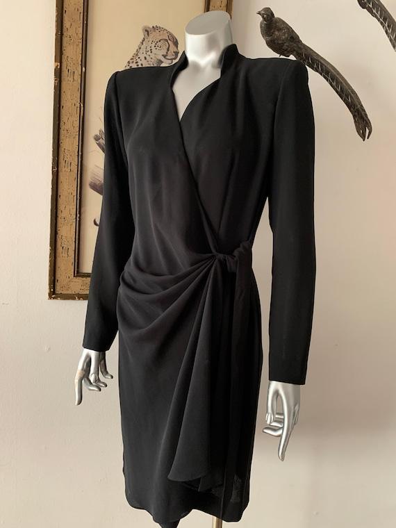 1940s Style Black Crepe Wrap Dress